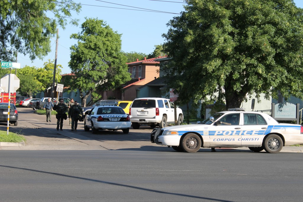 Officers respond to a standoff early in the morning of April 29 across from Del Mar College's East Campus.