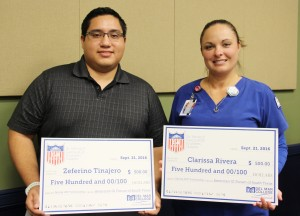 "Zeferino Tinajero and Clarissa Rivera both received a $500 scholarship from the American GI Forum.""The time that I take from my son, it just reinsures that I'm doing something right,"" Rivera said. (Priscilla Barba/Foghorn)"