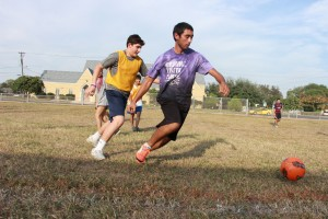 Albert Aguirre (right) Trey Zambrano (left) fight for the soccer ball during the intramural event.