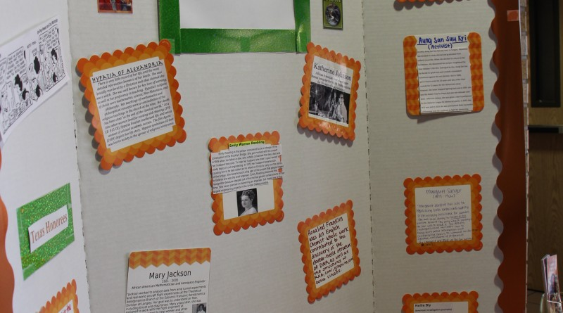Poster Presentation for Womans Month, created by students in English class 2341. Located in the coloes building.
