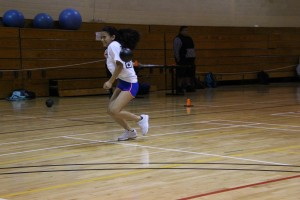 Jasmine Pena can't dodge, dive, dip, duck or dodge during a friendly game of dodgeball.