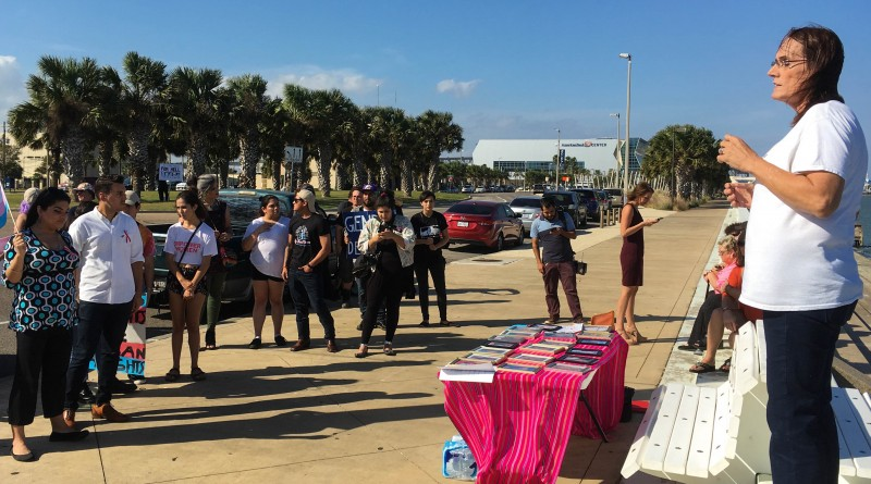Kathy Huff speaking at the trans rights rally on Nov 4, 2017 in Corpus Christi.
