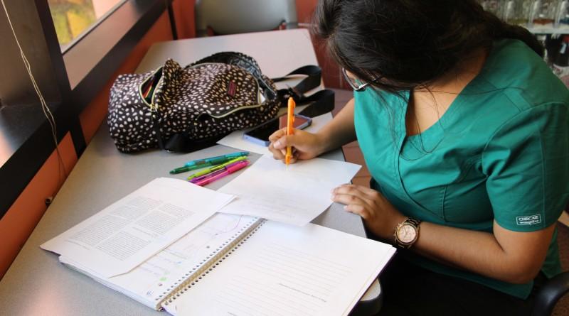 Nursing major Myrah Martinez studies for an anatomy and physiology exam