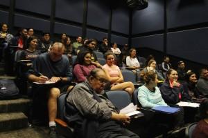 Drama students listen while DMC alum and actor Pepe Serna talks on Dec. 12 on East Campus.