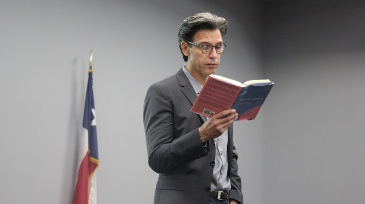 "Author Oscar Casares reads from his newest book, ""Where We Come From,"" on May 30 at the Center for Economic Development."