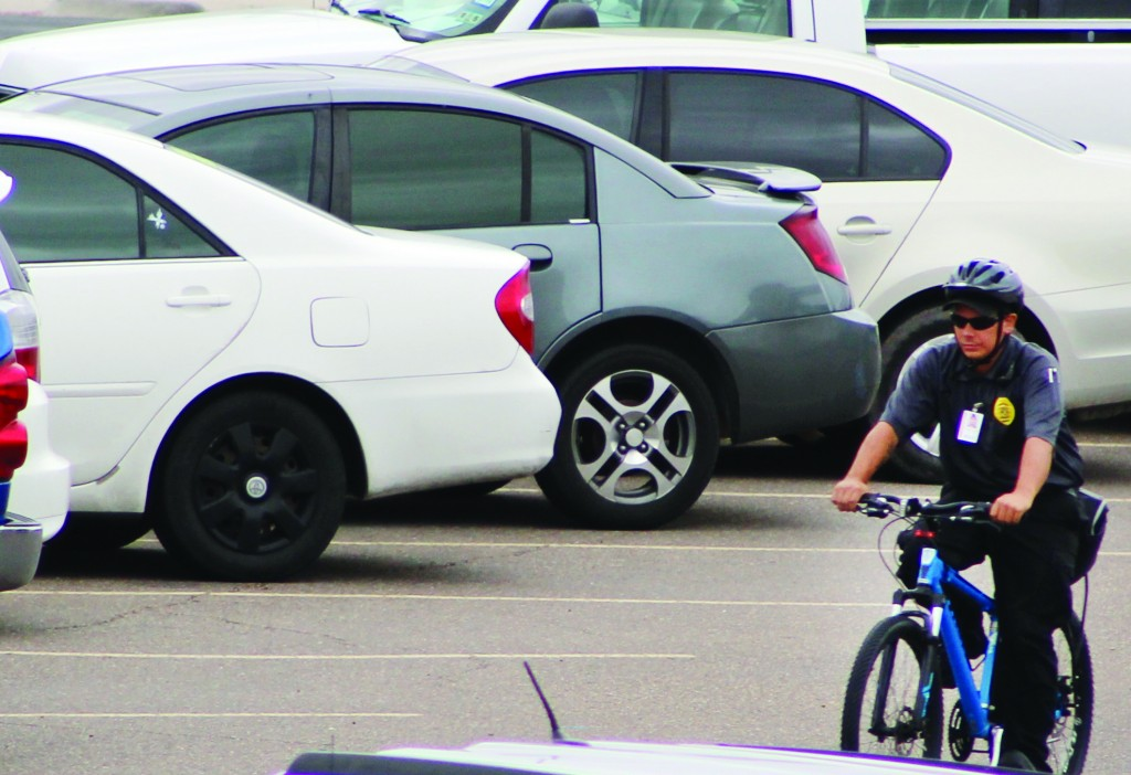 Del Mar College campus security patroling through the parking lot outside the Harvin Center.